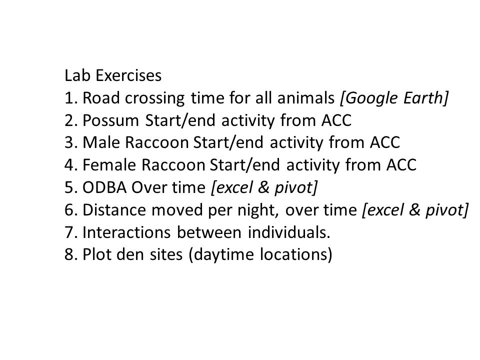 Lab Exercises Road crossing time for all animals [Google Earth] Possum Start/end activity from ACC.